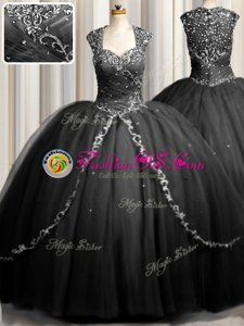 Zipple Up Tulle Cap Sleeves Sweet 16 Quinceanera Dress Brush Train and Beading and Appliques