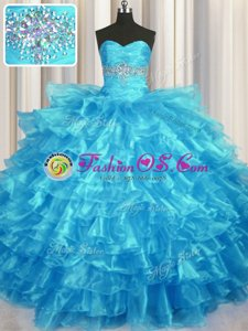 Baby Blue Sleeveless Beading and Ruffled Layers Floor Length Sweet 16 Quinceanera Dress