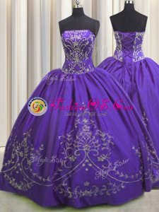 Flare Purple Ball Gowns Strapless Sleeveless Taffeta Floor Length Lace Up Beading and Embroidery Sweet 16 Dress