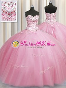 Clearance Bling-bling Big Puffy Sweetheart Sleeveless Lace Up Quince Ball Gowns Rose Pink Tulle