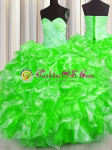Organza Sweetheart Sleeveless Lace Up Beading and Ruffles Sweet 16 Dresses in