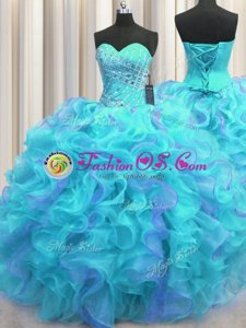 Romantic Multi-color Quince Ball Gowns Military Ball and Sweet 16 and Quinceanera and For with Beading and Ruffles Sweetheart Sleeveless Lace Up