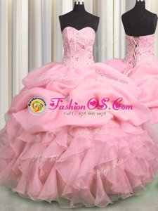 Visible Boning Sleeveless Organza Floor Length Lace Up Sweet 16 Dress in Rose Pink for with Beading and Ruffles and Pick Ups