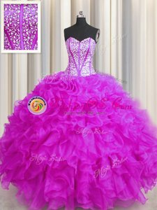 Fashion Visible Boning Beaded Bodice Fuchsia Lace Up Sweetheart Beading and Ruffles Quince Ball Gowns Organza Sleeveless