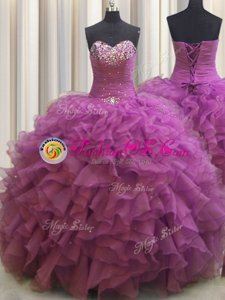 Spectacular Beaded Bust Sweetheart Sleeveless Sweet 16 Dresses Floor Length Beading and Ruffles Fuchsia Organza