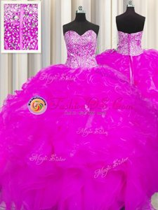 Pretty Really Puffy Ball Gowns Ball Gown Prom Dress Fuchsia Sweetheart Tulle Sleeveless Floor Length Lace Up