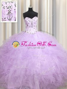 Super Visible Boning Beading and Appliques and Ruffles Ball Gown Prom Dress Lavender Lace Up Sleeveless Floor Length