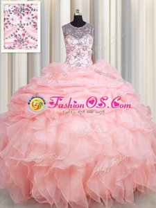 Leopard V Neck Organza Sleeveless Floor Length 15th Birthday Dress and Beading and Ruffles