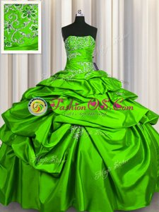 Glittering Strapless Sleeveless Taffeta Quinceanera Gown Beading and Pick Ups Lace Up