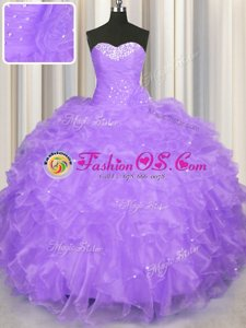 Super Lavender Lace Up Quinceanera Dress Beading and Ruffles Sleeveless Floor Length