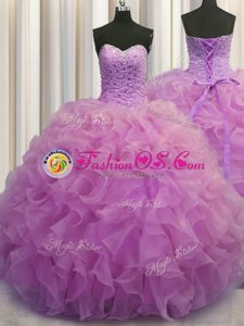 Lilac Lace Up Quinceanera Gowns Beading and Ruffles Sleeveless Floor Length