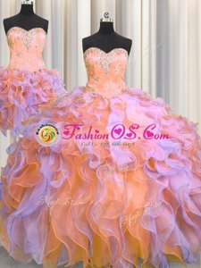 Captivating Three Piece Multi-color Ball Gowns Beading and Appliques and Ruffles 15 Quinceanera Dress Lace Up Organza Sleeveless Floor Length