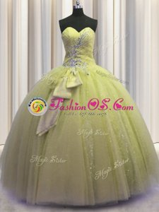 Visible Boning Grey Sweetheart Neckline Beading and Ruffles and Sequins Sweet 16 Dress Sleeveless Lace Up