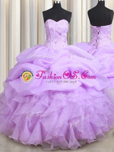 Discount Visible Boning Lilac Organza Lace Up Sweet 16 Quinceanera Dress Sleeveless Floor Length Beading and Ruffles and Pick Ups