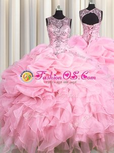 See Through Baby Pink Scoop Lace Up Beading and Ruffles and Pick Ups Quince Ball Gowns Sleeveless