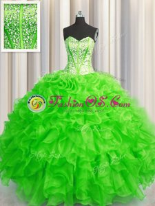 Visible Boning Beaded Bodice Sleeveless Organza Floor Length Lace Up Vestidos de Quinceanera in for with Beading and Ruffles