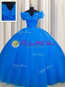 Comfortable Off The Shoulder Royal Blue Lace Up Quinceanera Dresses Ruching Short Sleeves With Train Court Train