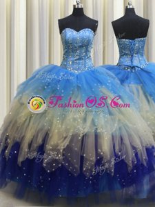 Visible Boning Sleeveless Lace Up Floor Length Beading and Ruffles and Sequins Quinceanera Dress