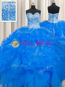 Colorful Visible Boning Beaded Bodice Blue Organza Lace Up Sweetheart Sleeveless Floor Length 15 Quinceanera Dress Beading and Ruffles