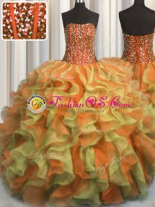 Dynamic Visible Boning Beaded Bodice Sleeveless Lace Up Floor Length Beading and Ruffles Quinceanera Gowns
