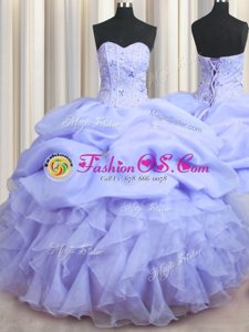 Best Selling Visible Boning Lavender Sweetheart Neckline Beading and Ruffles Ball Gown Prom Dress Sleeveless Lace Up