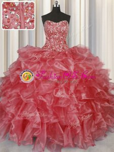 Visible Boning Sleeveless Floor Length Beading and Ruffles Lace Up Sweet 16 Dresses with Coral Red