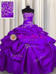 Floor Length Lace Up Sweet 16 Dress Purple and In for Military Ball and Sweet 16 and Quinceanera with Appliques and Pick Ups