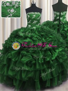 Vintage Dark Green Sleeveless Appliques and Ruffles and Ruffled Layers Floor Length 15 Quinceanera Dress