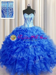 Fancy Visible Boning Beaded Bodice Sleeveless Beading and Ruffles Lace Up Sweet 16 Dress