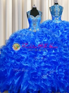 Luxurious Zipper Up See Through Back Sleeveless Organza With Train Sweep Train Zipper Sweet 16 Dresses in Royal Blue for with Beading and Ruffles