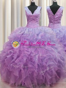 V Neck Zipper Up Lilac Organza Zipper 15th Birthday Dress Sleeveless Floor Length Ruffles