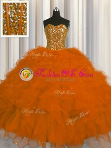 High End Visible Boning Rust Red Ball Gowns Sweetheart Sleeveless Tulle Floor Length Lace Up Beading and Ruffles and Sequins Quinceanera Dress