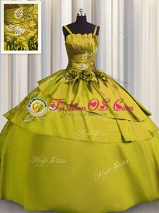 Glorious Olive Green Lace Up 15th Birthday Dress Beading and Embroidery Sleeveless Floor Length