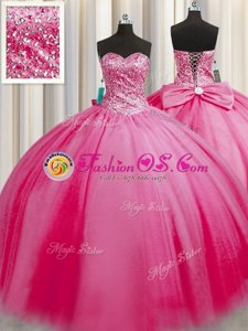 Clearance Big Puffy Rose Pink Sleeveless Floor Length Beading Lace Up Sweet 16 Quinceanera Dress