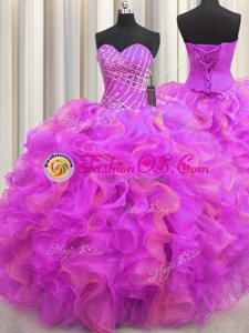 Custom Made Sleeveless Floor Length Beading and Ruffles Lace Up Quinceanera Dress with Multi-color