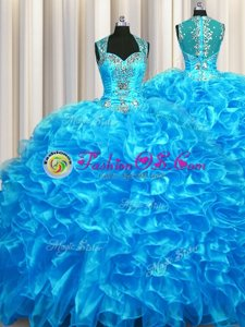 Zipper Up See Through Back Straps Sleeveless Zipper Quinceanera Gowns Baby Blue Organza