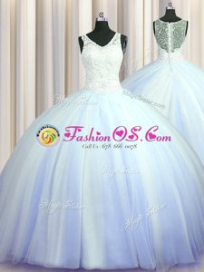 Lovely See Through Zipper Up Light Blue V-neck Zipper Beading and Appliques Sweet 16 Quinceanera Dress Brush Train Sleeveless