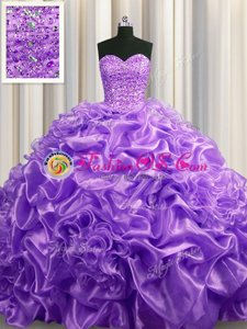 Lavender Lace Up 15th Birthday Dress Beading and Pick Ups Sleeveless With Train Court Train