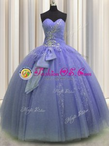 Eye-catching Beading and Sequins and Bowknot Quinceanera Dresses Lavender Lace Up Sleeveless Floor Length