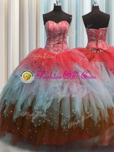 Visible Boning Beaded Bodice Sleeveless Floor Length Beading and Ruffles Lace Up Quinceanera Gowns with Red