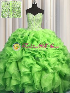 Visible Boning Brush Train Green Ball Gowns Beading and Ruffles Quince Ball Gowns Lace Up Organza Sleeveless With Train