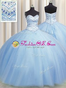 Pretty Bling-bling Big Puffy Floor Length Lace Up Ball Gown Prom Dress Light Blue and In for Military Ball and Sweet 16 and Quinceanera with Beading