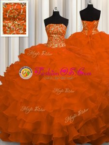 Fancy Strapless Sleeveless Sweet 16 Quinceanera Dress Sweep Train Beading and Ruffles Rust Red Organza