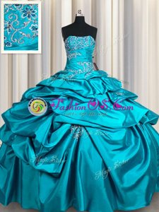 Popular Teal Strapless Lace Up Appliques and Pick Ups Quince Ball Gowns Sleeveless