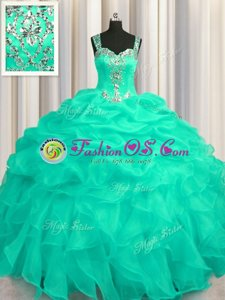 Dynamic See Through Zipper Up Turquoise Quinceanera Gown Military Ball and Sweet 16 and Quinceanera and For with Appliques and Ruffles Straps Sleeveless Zipper