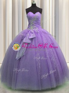 Lovely Visible Boning Floor Length Lilac Ball Gown Prom Dress Sweetheart Sleeveless Lace Up