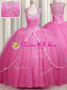 Artistic Zipper Up Sweetheart Cap Sleeves Sweet 16 Quinceanera Dress With Brush Train Beading and Appliques Rose Pink Tulle