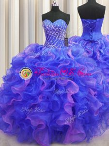 Visible Boning Gold Ball Gowns Beading and Ruffles Sweet 16 Dresses Lace Up Organza Sleeveless Floor Length