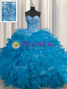 Adorable See Through Teal Sweetheart Lace Up Beading and Ruffles Vestidos de Quinceanera Sleeveless