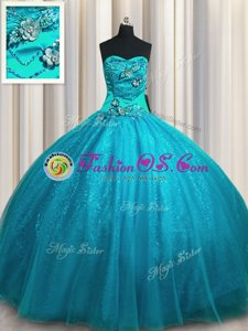 Dynamic Teal Sleeveless Tulle and Sequined Lace Up Sweet 16 Dresses